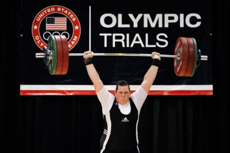 Sarah Robles successfully completes a 144 kilogram clean and jerk on her third attempt. (Photo by Jamie Sabau/Getty Images)