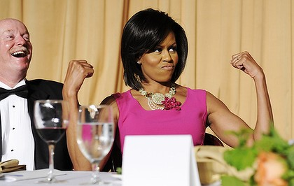 The First Lady exercises her Second Amendment rights - the right to bare arms.