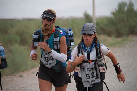 Lisa Tamati and Samantha Dash in the Gobi Desert.