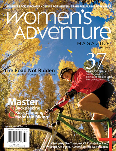 The Fall 2013 cover of Women's Adventure
