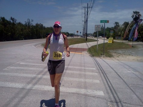 Coasting into the mile 20 aid station on my second wind.