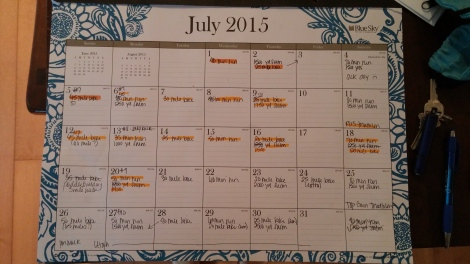 Here's my training schedule for July.  I know, it's so high-tech and very fancy, but it works for me.  The workouts I actually complete are all logged in Google Connect.