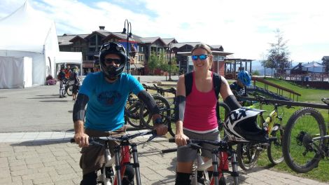 Getting used to our mountain bikes and gear before we head up the mountain.